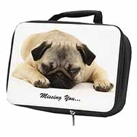 "Pug Dog "" Missing You "" Sentiment Black Insulated School Lunch Box Bag"