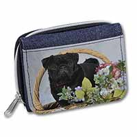 Black Pug Dog Girls/Ladies Denim Purse Wallet Birthday Gift Idea