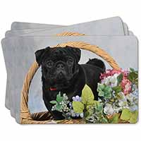 Black Pug Dog Picture Placemats in Gift Box