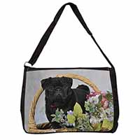 Black Pug Dog Large Black Laptop Shoulder Bag School/College