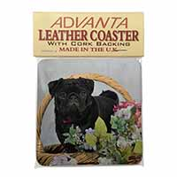 Black Pug Dog Single Leather Photo Coaster Animal Breed Gift
