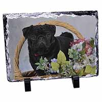 Black Pug Dog Photo Slate Photo Ornament Gift