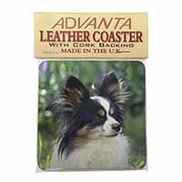 Papillon Dog Single Leather Photo Coaster Perfect Gift
