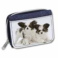 Papillon Dogs Girls/Ladies Denim Purse Wallet Birthday Gift Idea
