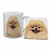 Cream Pomeranian Dog Mug+Coaster Christmas/Birthday Gift Idea