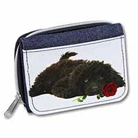 Miniature Poodle Dog with Red Rose Girls/Ladies Denim Purse Wallet Birthday Gift