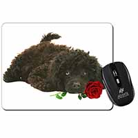 Miniature Poodle Dog with Red Rose Computer Mouse Mat Birthday Gift Idea