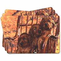 Irish Red Setter Puppy Dogs Picture Placemats in Gift Box