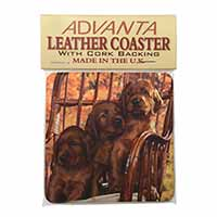 Irish Red Setter Puppy Dogs Single Leather Photo Coaster Perfect Gift