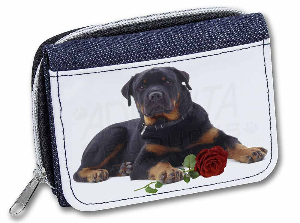 Rottweiler Dog with a Red Rose Girls/Ladies Denim Purse Wallet ...