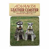 Schnauzer Dogs Single Leather Photo Coaster Perfect Gift