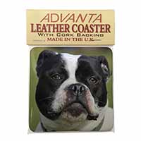 Black and White Staffordshire Bull Terrier Single Leather Photo Coaster Animal B