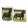 Black Staffordshire Bull Terrier Mug+Coaster Christmas/Birthday Gift Idea