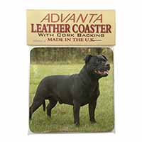 Black Staffordshire Bull Terrier Single Leather Photo Coaster Perfect Gift