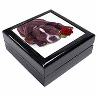 Brindle Staffie with Rose Keepsake/Jewellery Box Christmas Gift