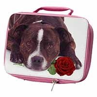 Brindle Staffie with Rose Insulated Pink School Lunch Box Bag