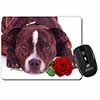 Brindle Staffie with Rose Computer Mouse Mat Christmas Gift Idea