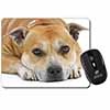 Red Staffordshire Bull Terrier Dog Computer Mouse Mat Christmas Gift Idea