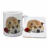 Red Staffie with Rose Mug+Coaster Christmas/Birthday Gift Idea