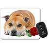 Red Staffie with Rose Computer Mouse Mat Christmas Gift Idea