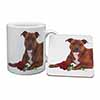 Staffie with Red Rose Mug+Coaster Christmas/Birthday Gift Idea