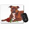 Staffie with Red Rose Computer Mouse Mat Christmas Gift Idea