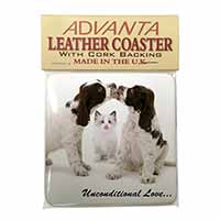 Cocker Spaniel and Kitten -Love Single Leather Photo Coaster Animal Breed Gift