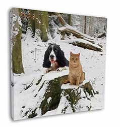 "Cocker Spaniel and Cat Snow Scene 12""x12"" Wall Art Canvas Decor, Picture Print"