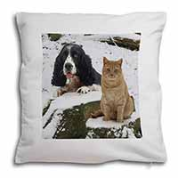 Cocker Spaniel and Cat Snow Scene Soft Velvet Feel Cushion Cover With Pillow Inn