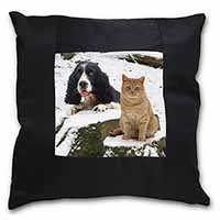 Cocker Spaniel and Cat Snow Scene Black Border Satin Feel Cushion Cover+Pillow I