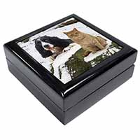 Cocker Spaniel and Cat Snow Scene Keepsake/Jewellery Box Birthday Gift Idea
