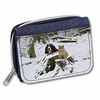 Cocker Spaniel and Cat Snow Scene Girls/Ladies Denim Purse Wallet Birthday Gift