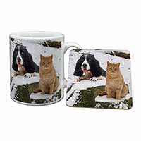 Cocker Spaniel and Cat Snow Scene Mug+Coaster Birthday Gift Idea