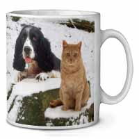 Cocker Spaniel and Cat Snow Scene Coffee/Tea Mug Gift Idea