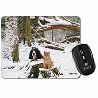 Cocker Spaniel and Cat Snow Scene Computer Mouse Mat Birthday Gift Idea