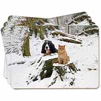 Cocker Spaniel and Cat Snow Scene Picture Placemats in Gift Box
