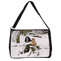 Cocker Spaniel and Cat Snow Scene Large Black Laptop Shoulder Bag School/College