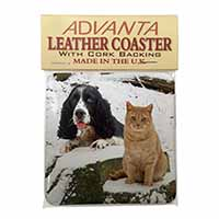 Cocker Spaniel and Cat Snow Scene Single Leather Photo Coaster Perfect Gift