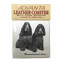 Cocker Spaniel Dogs-With Love Single Leather Photo Coaster Perfect Gift