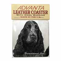Cocker Spaniels with Love Single Leather Photo Coaster Perfect Gift