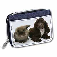 Cute Cocker Spaniel Dog and Rabbit Girls/Ladies Denim Purse Wallet Birthday Gift