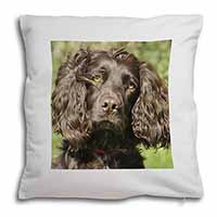 Chocolate Cocker Spaniel Dog Soft Velvet Feel Cushion Cover With Pillow Inner