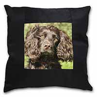 Chocolate Cocker Spaniel Dog Black Border Satin Feel Cushion Cover+Pillow Insert