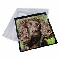 4x Chocolate Cocker Spaniel Dog Picture Table Coasters Set in Gift Box