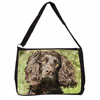 Chocolate Cocker Spaniel Dog Large Black Laptop Shoulder Bag School/College