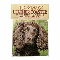 Chocolate Cocker Spaniel Dog Single Leather Photo Coaster Perfect Gift