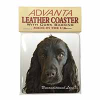 Cocker Spaniel-With Love Single Leather Photo Coaster Perfect Gift