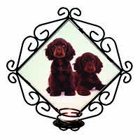 Chocolate Cocker Spaniel Dogs Wrought Iron Wall Art Candle Holder Gift