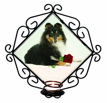 Tri-Col Sheltie with Red Rose Wrought Iron Wall Art Candle Holder Gift