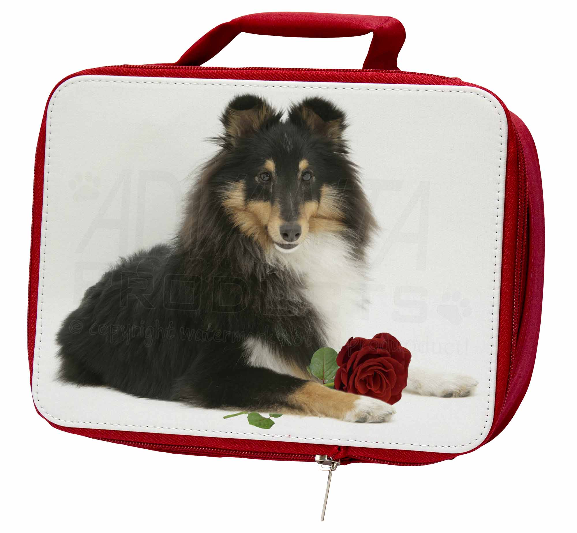 Tri-Col Sheltie with Red Rose Insulated Red School Lunch AD-SE1RLBR Box/Picnic , AD-SE1RLBR Lunch 21addd
